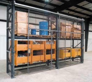 pallet rack enclosure with sliding doors